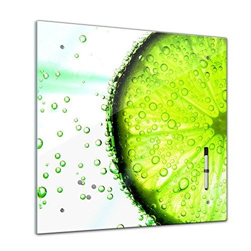 Memoboard 40 x 40 cm, Essen & Trinken - Zitrone - Glasboard Glastafel Magnettafel Memotafel Pinnwand Schreibtafel - Frucht - Früchte - Obst - Eis - Wasser - gelb - sauer - Limone - Zitrusfrucht - Küche - Küchenbild - Esszimmer - Zitronenbild - Motiv - Design (Quadrate Extra Zitrone)