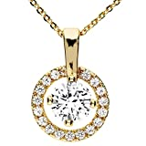 MYA art Damen Halskette Kette Collier Ring Kreis Offen Anhänger mit vielen Zirkonia am Rand Gold Vergoldet Gelbgold Weiß MYAGOKET-14