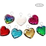5pcs Portachiavi Cuore Su Due Lati Glitter Bag Ciondolo Accessori Amore Chiave Ornamenti Catena Paillettes (Colore Casuale)