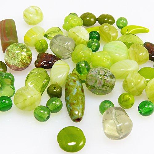 Perlen Mix Glasperlen Mischung olivgrün 5-22mm 60St. Glas Beads -445 Glasperlen