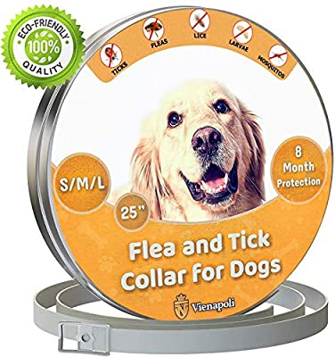 Vienapoli Adjustable Flea and Tick Collar for Small, Medium and Large Dogs - Waterproof | Flea Treatment for Dogs | - 8 Months Effectiveness Protection - Natural Essential Oil |Dog Collar from Vienapoli