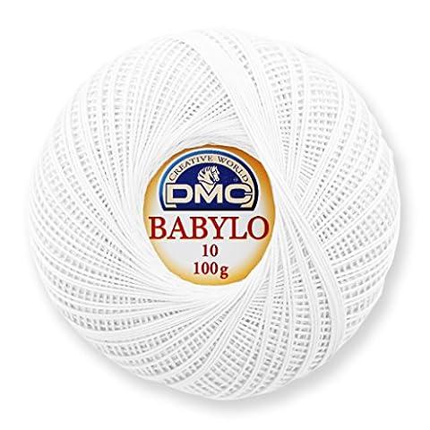Fil à crocheter Babylo 10 DMC en coton Blanc x 530 m