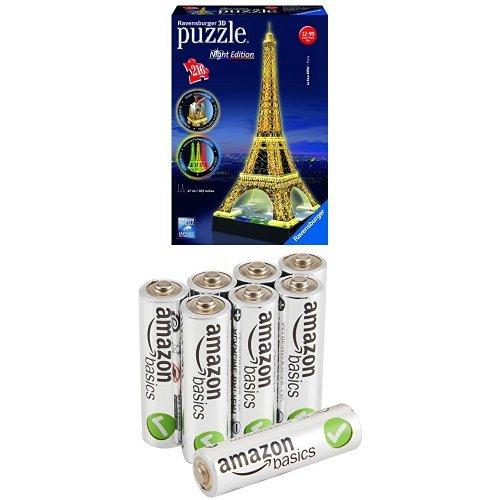 Pack Puzzle 3D -Tour Eiffel De Nuit + 8 Piles AmazonBasics AA