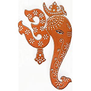 Indian Wall Hanging Om Ganesh Painting – Copper Colour with Geometric Motifs