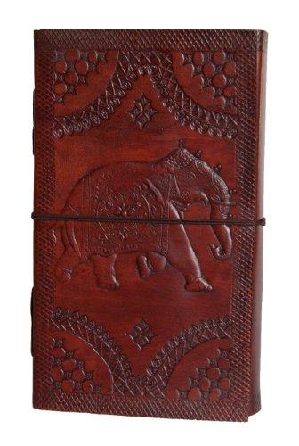 INDIARY echtes Leder Tagebuch / Notizbuch aus Büffelleder handgeschöpftes Papier 23cm X 13cm schlicht und edel - elephant