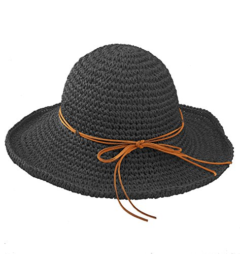 Urbancoco Damen klappbare Kappe flexible Sommer Strand Sonne Hüte (Schwarz Kinder Derby Hut)