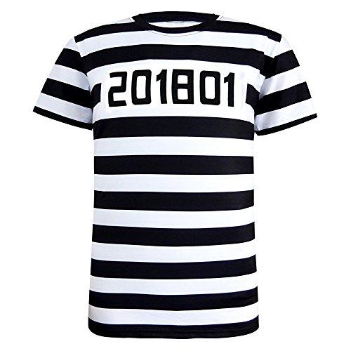 Funny World Herren Gefangene Halloween Kostüm T-Shirts (XXL, (Gefangener Shirt Kostüm)