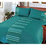 Just Contempo Modern Striped Duvet Cover Set, Double, Teal