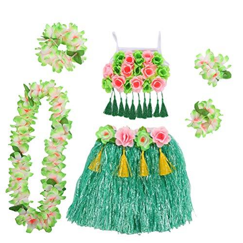 Hawaiianische Kostüm Kinder - Amosfun Set Hawaiianisches Hula-Kostüm Tropischer Hula-Grasrock mit Blumenarmbändern Kopfschleife-Halskranz