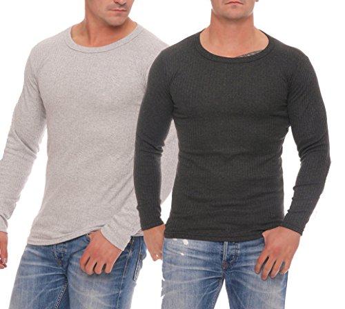 Skiunterwäsche für Herren Thermo Unterwäsche Set Hemd/Hose, 2 Lange Unterhosen oder 2 lange Unterhemden, angeraut anthrazit, grau, Grössen 5 bis 10 lieferbar Hemden grau/anthrazit