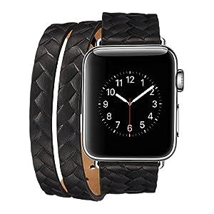 Armband für Apple Watch 42mm,PU Leder Ersatzband mit Edelstahl Gürtelschnalle Leder Uhrenarmband für Apple Watch 42mm Series 1/2/3 (W)