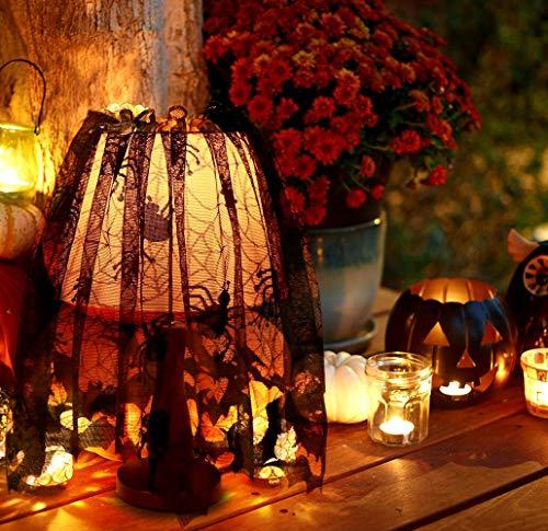 Halloween Spinne und Fledermaus Web Dekoration Spitze Lampenschirm Topper Kamin Mantel Schal Fenster Vorhang mit Band für Halloween-Partys, Dekor & Spooky Mahlzeiten, Schwarz 60