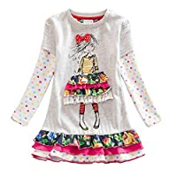 VIKITA Girls Dresses Cartoon Sequin Flower Embroidery Princess Casual Party Cotton Dress for 1-8 Years