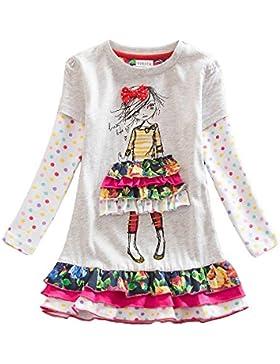 VIKITA Vestito Ricamo Floral Manica Lunga Cotone Bambina 1-8 anni