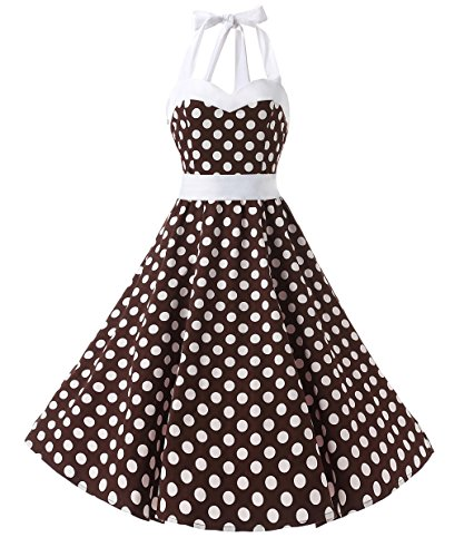 Dresstells Neckholder Rockabilly 50er Vintage Retro Kleid Petticoat Faltenrock Brown White Dot