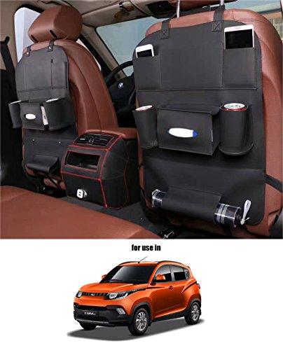 Volga Leatherette 3D Car Seat Organizer Black One Pc For Mahindra Kuv 100