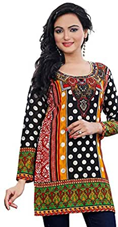 Indian Long Tunics Kurti Top Cotton Kurta Womens India Apparel (Black, XXXL)