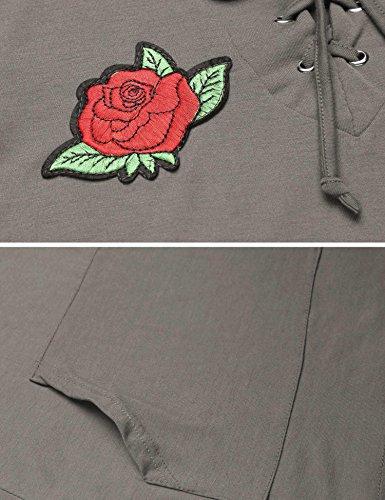 Zeela Damen Langarmshirt Bestickt Kapuzenshirt Hoodie Bluse Trompetenärmel Oberteile mit Schnürung und Kängurutasche Grau
