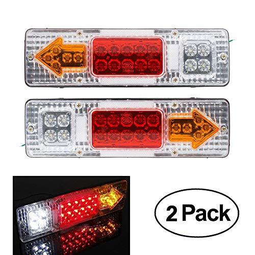 Confezione da 2 luci posteriori a LED per rimorchio, luce di freno, 12 V, per camion, roulotte, auto, luci di stop, indicatori di retromarcia, impermeabili, freccia