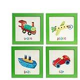 BD ART 4er Set Deko-Bilderrahmen fürs Kinderzimmer, Geschenk, Poster fürs Kinderzimmer und den Bilderrahmen, Babyzimmer Bilder, Mädchen Junge Deko, Dekoration Kinderzimmer FLUGZEUG + ZUG + CAR + BOAT