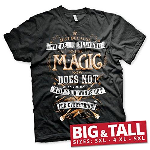 Harry Potter Offizielles Lizenzprodukt Magic groß & Hoch (3XL, 4XL, 5XL) Herren T-Shirt (Schwarz), 4X-Large