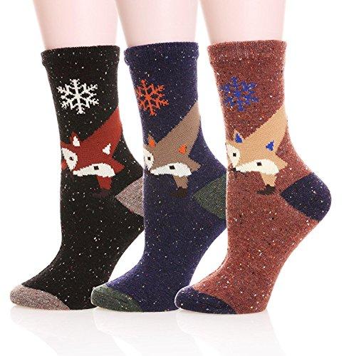 lanshulan-womens-animal-pattern-casual-cotton-socks-3-pairs-fox
