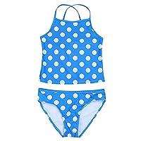 Freebily 2pcs Girls Youth Kids Spaghetti Shoulder Straps Polka Dots Swimwear Tankini Sets Beachwear Blue 6 Years