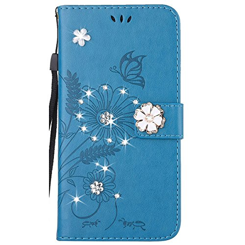 iphone 8 Custodia Diamante, Cover per iphone 7 Portafoglio, Ekakashop Diamante Strass Glitter Sparkle Blingbling Fiore Animal Fantasia Lusso Libro Wallet PU Leather Morbido Silicone Disegno Magnete Cl Blu