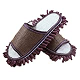 Moolecole Comfortable Chenille Dusting Mopping Slippers Mens Floor Mop Shoes Detachable Cleaning Tool Brown