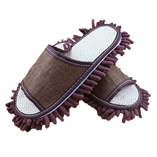 Moolecole Weich Sauber Hausschuhe Reinigungstuch Pantoffel Putz-Hausschuhe Bodenpolierwerkzeuge Shoe Cover Abstauben Floor Cleaner Reinigung EU size 40.5/42 Braun