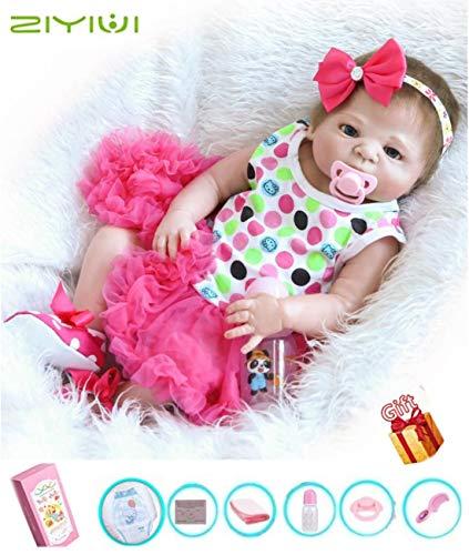 ZIYIUI Hecho a Mano 45cm 18 Pulgadas Reborn Bebe Muñecas Realista Lleno Cuerpo Silicona Girl Recién Nacido Baby Dolls Muñecos Reborn Cumpleaños Regalos Navidad Juguetes