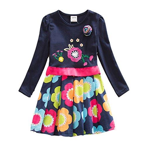 VIKITA Mädchen Blumen Langarm Baumwolle Kleid 2-8 Jahre LH5868Navy 6T