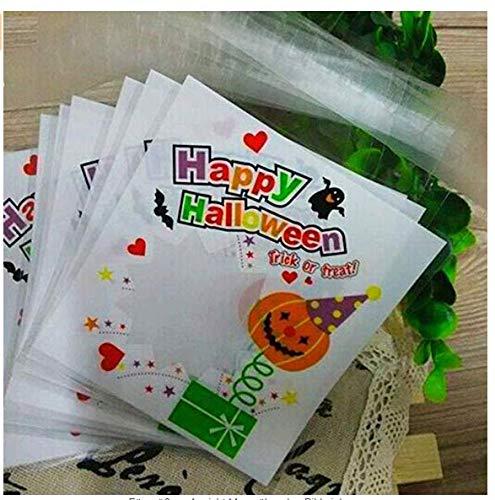 100 Stück Selbstklebend OPP Tütchen (10 * 11+Klappe 3cm) Halloween Plastiktüten Klein Flachbeutel Transparent Beutel Plätzchen Gebäck Tüten Süßigkeiten Geschenk Verpackung Für Plätzchen Gebäck