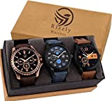 Rizzly Analogue Black Dial Men's Watch (Combo of 3)