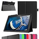 """Lenovo TAB 2 A10-30F Case,Mama Mouth PU Leather Folio 2-folding Stand Cover with Stylus Holder for 10.1"""" Lenovo TAB 2 A10-30F Android 5.1 Tablet,Black"""