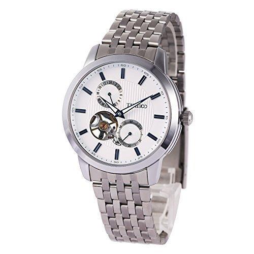TIME100 Herren Armbanduhr Automatik runde mechanische Uhr Edelstahl Wei #W60029G.01A