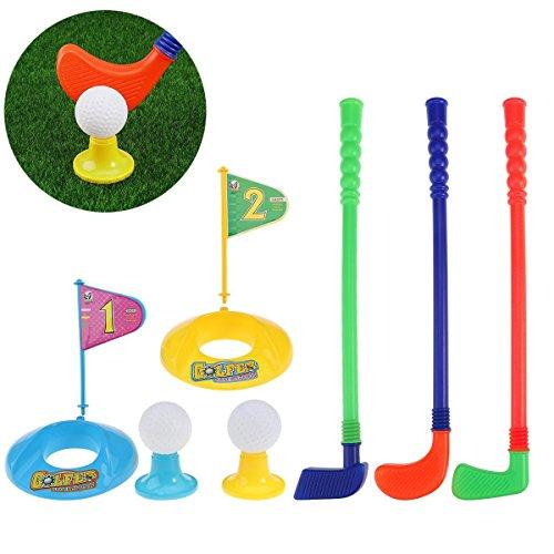Plástico golfista juguete niño juego de golf juguete conjunto para niños de 9 piezas conjunto