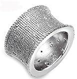 18k Vergoldet Ringe, Damen Versprechen Ringe Handgemachtes Kreis mit Zirkon Gr.48(15.3) Weiß Gold Epinki