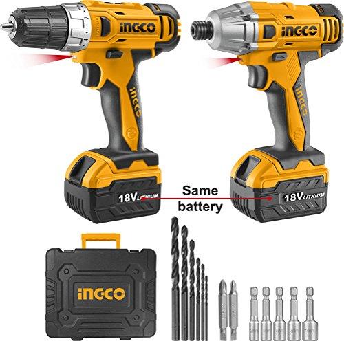 Ingco - Kit Atornillador Litio 18V + Atornillador Impacto 18V