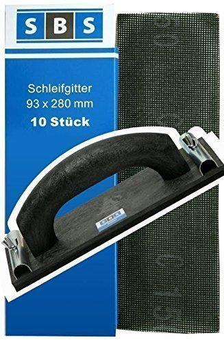 SBS® Gitterleinen 93x280mm 70 Stück Mix Pack + 1x SBS® Handschleifer 225x80mm