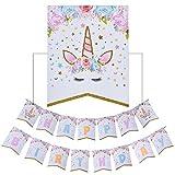 AMZTM Decorados Fiesta De Cumpleaños Conjunto para Mujeres Artículos para Fiestas Temáticas De Unicornios Happy Birthday (Unicornio Bandera)