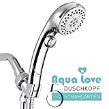 Duschkopf Chrom, Handbrause 5 Strahlarten, Stopptaste, Wassersparende ECO Dusche, Luxus Nebel Funktion, Internationale Standardgröße G1/2 - By Aqua Love