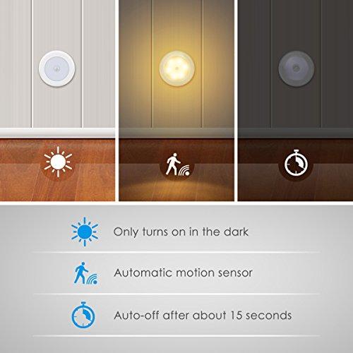 AMIR Nachtlicht mit Bewegungsmelder, LED Bewegungsmelder Licht, Auto ON/OFF Nachtlicht, Batterie-Powered Treppen Licht, Schrankleuchten, Schrank Lichter für Flur, Schlafzimmer, Küche (Warmes Weiß) - 3