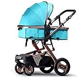 MRXUE Baby Bb Stroller Stroller Double Foldable Reclining Detachable Trolley geeignet Für 0-3 Jahre alt,Goldgreen