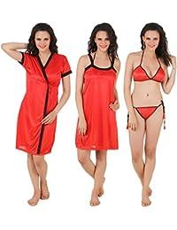 Fasense Women's Satin Nightwear/Sleepwear Set - Combo of 4