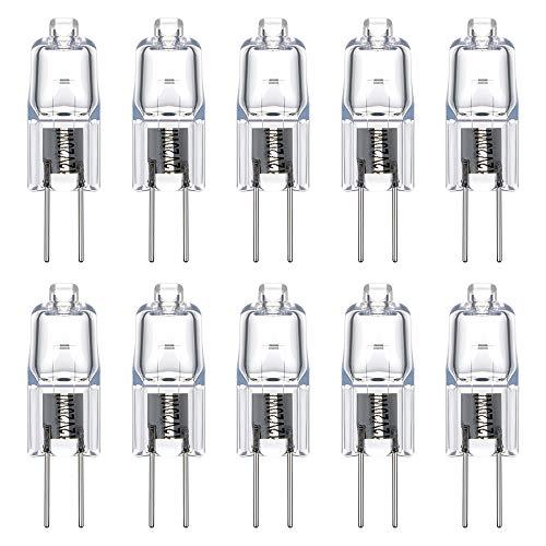Vicloon 10 Stücke Halogen-Stiftsockellampe G4, 12 Volt, 20 Watt,Warmweiß - 2700 K G4 Halogen-Stiftsockellampe Kapsel Lampe [Energieklasse C] ... -
