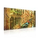 Tapeto Leinwandbild Vintage Venedig Boote auf Wasser - XXL - 100 x 75 cm - Komplettpaket! - fertig gerahmt und inklusive Aufhängung - hochwertige 230g/m² Leinwand auf Keilrahmen - kinderleichte Anbringung