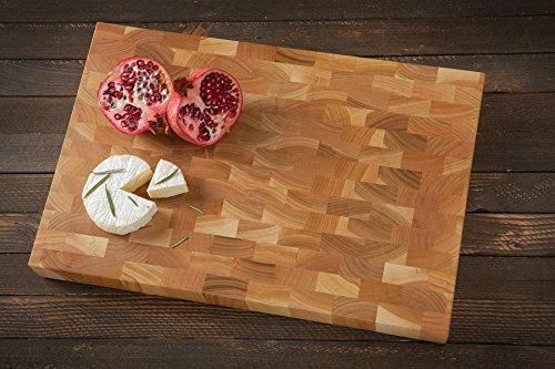 Tagliere End grain rettangolare design in ciliegio marrone naturale forma rettangolare grande 45x 30x 4.5cm (Tagliere End)