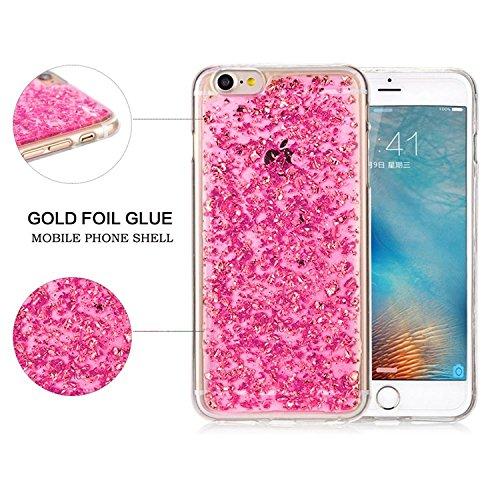 Coque pour iPhone 7 TPU Silicone Etui Housse,MingKun iPhone 7 Souple Transparent Case Cover Coque de Protection avec Absorption de Choc Bumper et Anti-Scratch Hull Bling Glitter Couleur Couverture Coq A-Rose Rouge