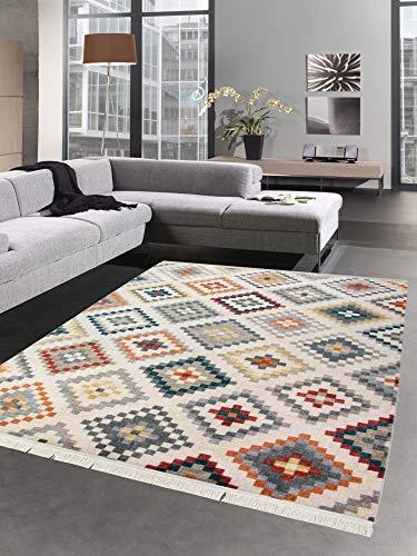 Carpetia tappeto orientale tappeto kilim rhombus turchese verde giallo rosso größe 120x170 cm